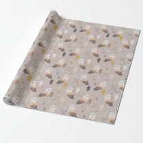 Barn Owls Arrows and Feathers Wrapping Paper