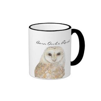 Barn Owls Rock- Watercolor Bird Collection Ringer Coffee Mug