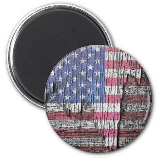 Barn Peeling Painted Patriotic American Flag 2 Inch Round Magnet