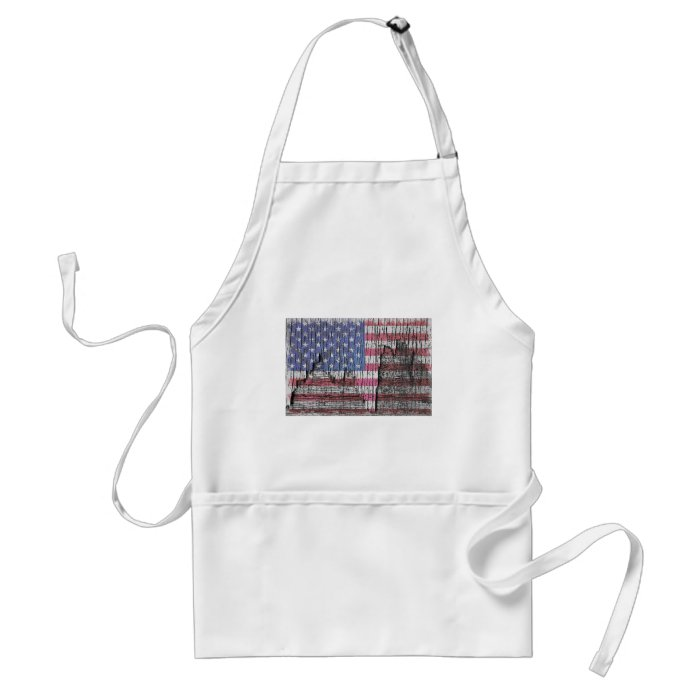 Barn Peeling Painted Patriotic American Flag Adult Apron