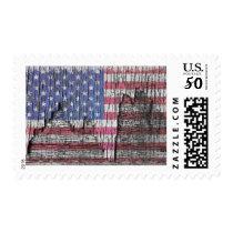 Barn Peeling Painted Patriotic American Flag Postage