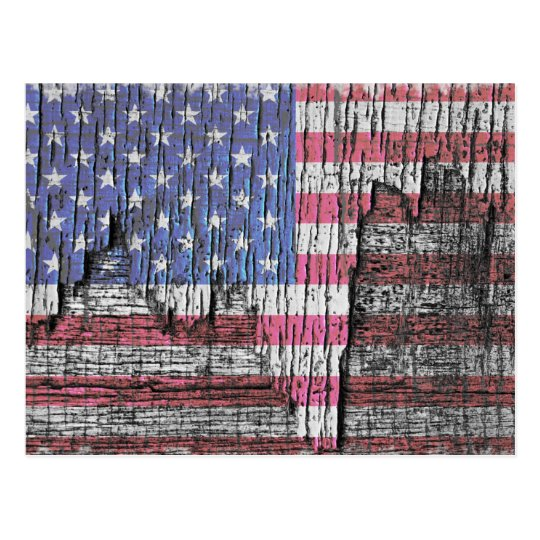 Barn Peeling Painted Patriotic American Flag Postcard