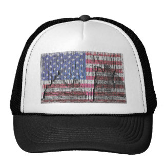 Barn Peeling Painted Patriotic American Flag Trucker Hat