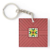 Barn Quilt Star 8 Keychain