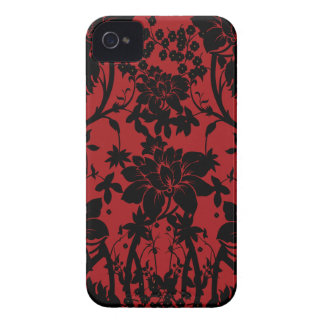 Barn red and black floral vintage style design iPhone 4 Case-Mate case