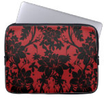 Barn red and black floral vintage style design laptop computer sleeves