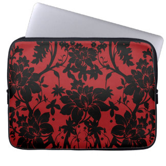 Barn red and black floral vintage style design laptop sleeve