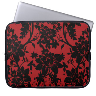 Barn red and black floral vintage style design laptop sleeve