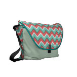 barn red and turquoise zigzag pattern messenger bag