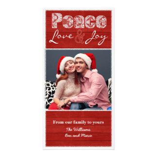 Barn Red Christmas Rustic Lace Flat Photo Card