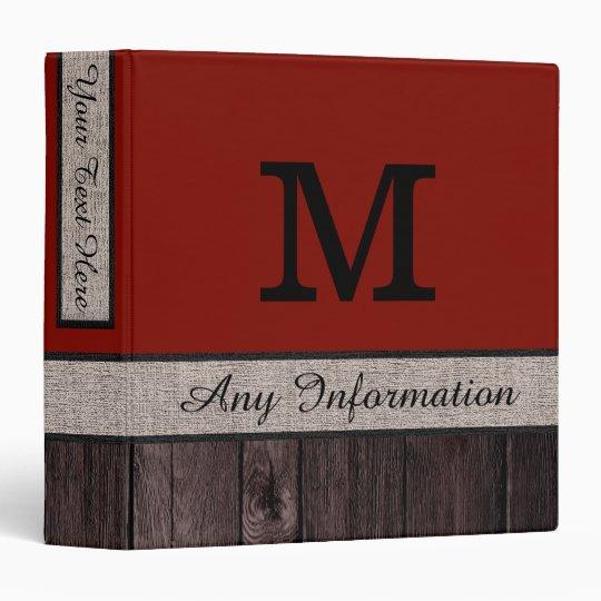 Barn Red Color Rustic Look Wood Monogram Binder