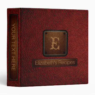 Barn red Leather Elegant Monogram Binder