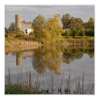 Barn Relected in the Water Poster