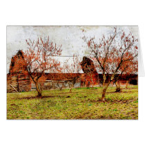 Barn Rural Farm Blank Greeting Note Card