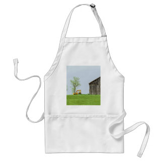 Barn Scene With Tractor Adult Apron