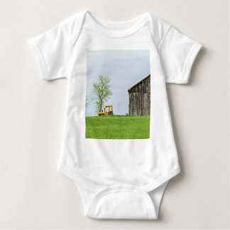 Barn Scene With Tractor Baby Bodysuit