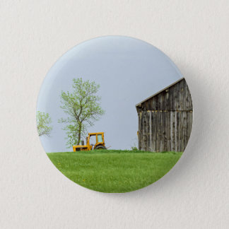 Barn Scene With Tractor Button