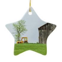 Barn Scene With Tractor Ceramic Ornament