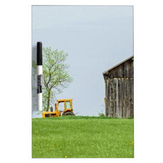 Barn Scene With Tractor Dry Erase Board