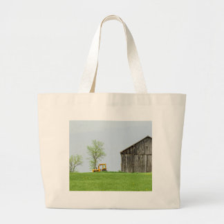 Barn Scene With Tractor Large Tote Bag
