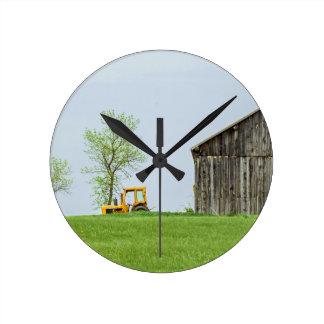 Barn Scene With Tractor Round Clock