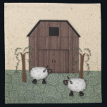 "Barn Sheep Napkin<br><div class=""desc"">This Barn Sheep Napkin features my mouse drawn primitive country art and is perfect for a Country or Primitive style kitchen or dinette.</div>"