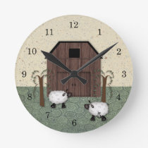 Barn Sheep  Wall Clock