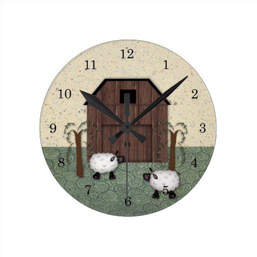 Barn Sheep  Wall Clock