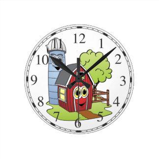 Barn Silo Cartoon Round Clock