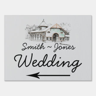 Barn Sketch Country Wedding Direction Sign