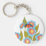 Barn Swallow and Posies Basic Round Button Keychain