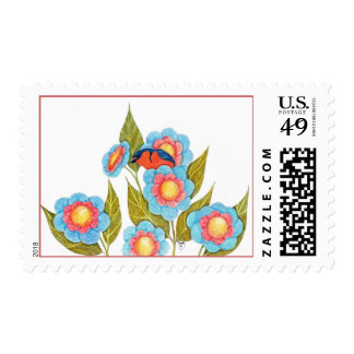 Barn Swallow and Posies Stamp