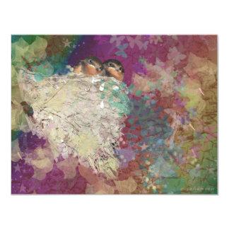 Barn Swallow Fantasy 60's Two Birds in a Nest Personalized Invitation