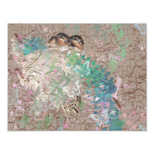 Barn Swallow Fantasy - Birds in a nest 4.25x5.5 Paper Invitation Card