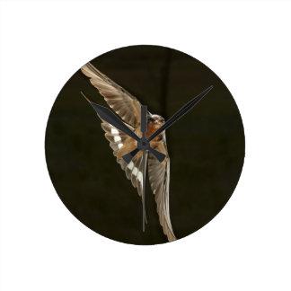 Barn Swallow in flight Wall Clocks
