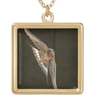Barn Swallow in flight Gold Plated Necklace