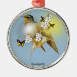Barn Swallow Round Metal Christmas Ornament