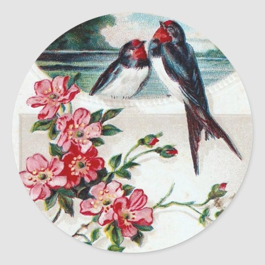 Barn Swallows and Pink Flowers Classic Round Sticker