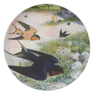 Barn Swallows Fly Around Old Outbuildings Plate