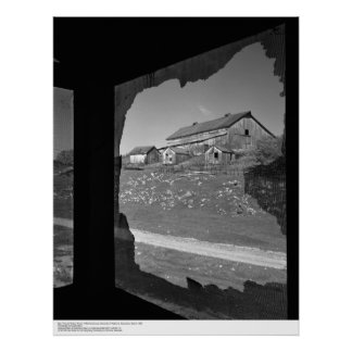 Barn through Broken Screen of Old Cookhouse Poster