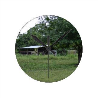 barn under tree old florida farm ranch image round wallclocks
