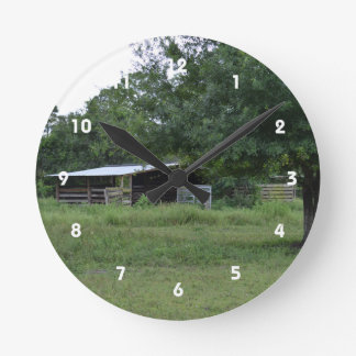 barn under tree old florida farm ranch image round clocks