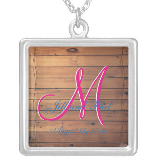 Barn Wall 3d Monogram Silver Plated Necklace