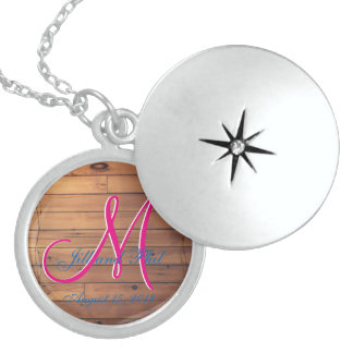 Barn Wall 3d Monogram Sterling Silver Necklace