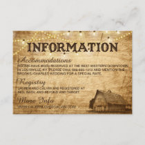 Barn Wedding Information Card
