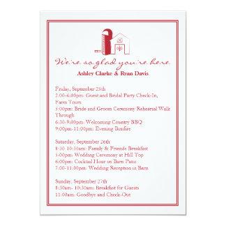 Barn Wedding WEEKEND ITINERARY Card