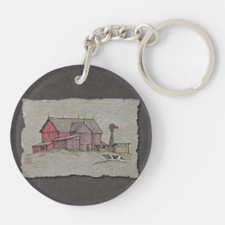 Barn Windmill & Cow Keychain