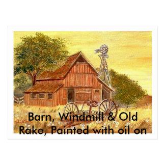 Barn, Windmill & Old Rake... Postcard