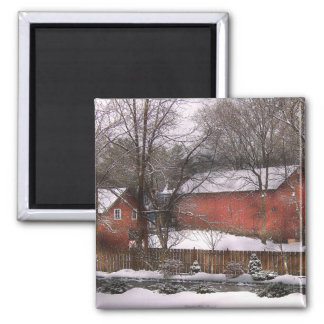 Barn - Winter in the Country Fridge Magnet