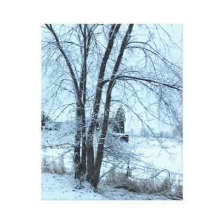 Barn Winterscape After an Ice Storm Canvas Print